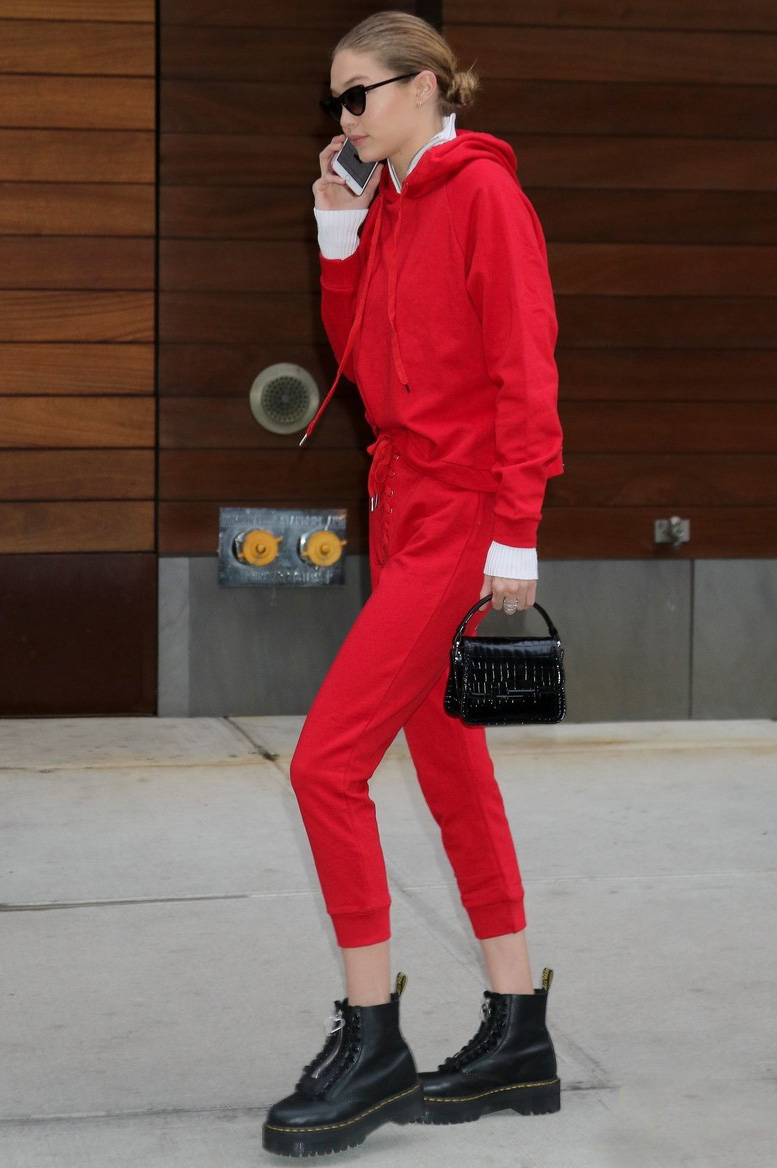 Gigi Hadid combat boots mini handbag style