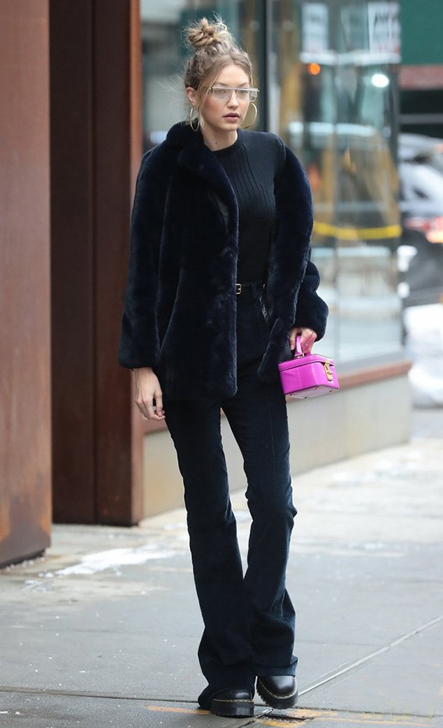 Gigi Hadid combat boots street style with flared velvet ...