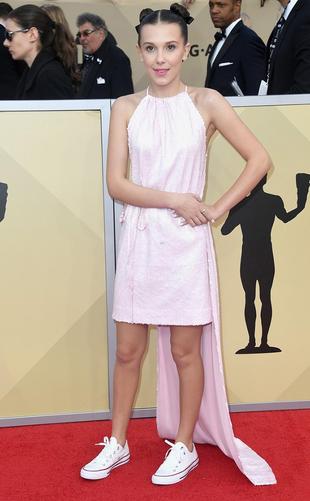 Millie Bobby Brown red carpet sneaker style