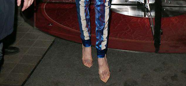 Gigi Hadid clear plastic shoe style