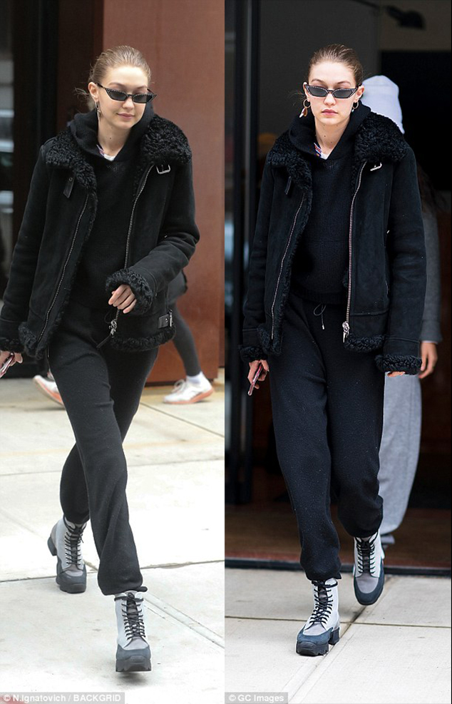 Gigi Hadid sneaker combat boots style