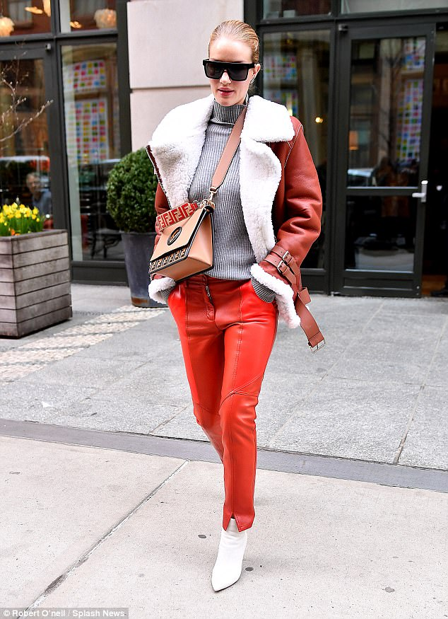 9f15bb76c492 Rosie Huntington-Whiteley white shoes style with bold color ensembles