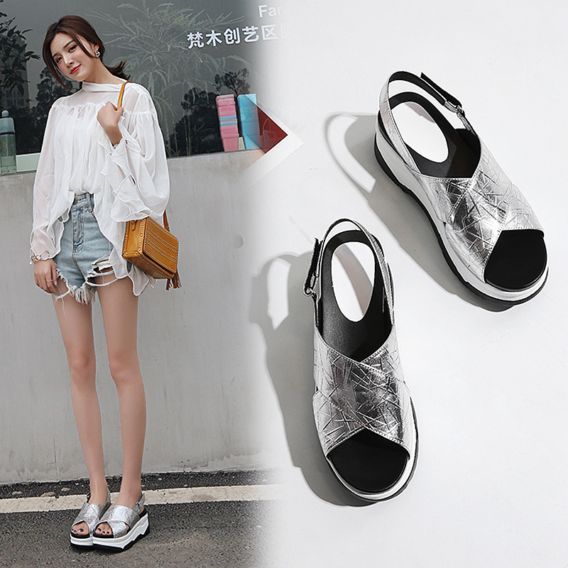 HAQUICAH FLATFORM CROSS STRAP SANDALS