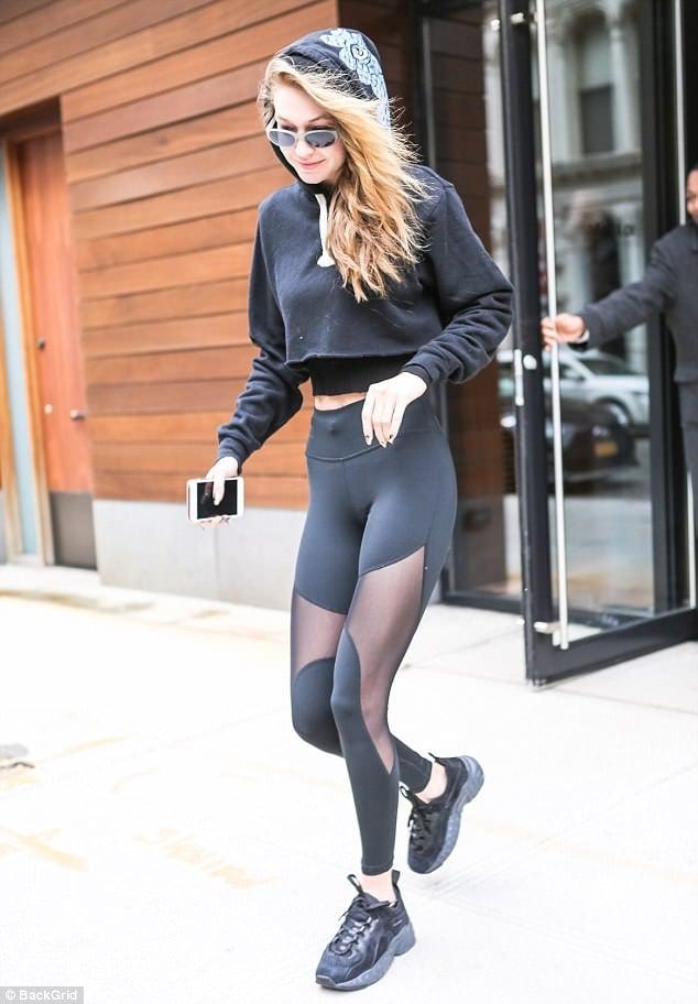 Gigi Hadid dad sneaker sheer legging style