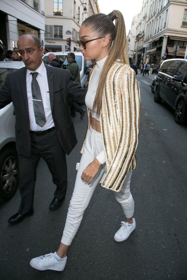 White sneaker trend style of Gigi Hadid