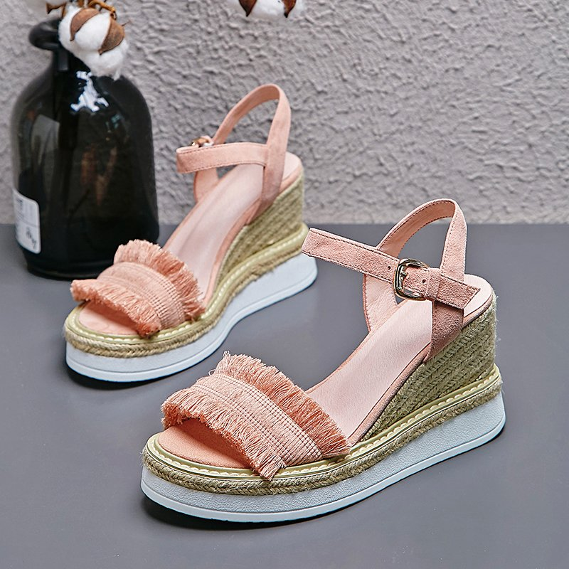 CHIKO AHEARN FRINGE ESPADRILLE WEDGE SANDALS