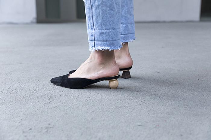 Chiko Adrina Mismatched Kitten Heel Mules