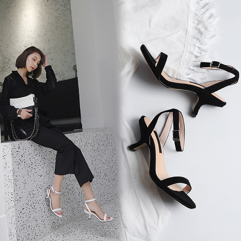 ANALAURA CURVED KITTEN HEEL STRAP SANDALS