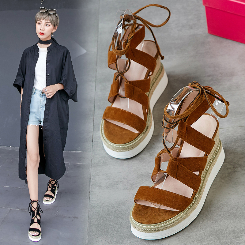 ANAMARIA LACE UP ESPADRILLE WEDGE SANDALS