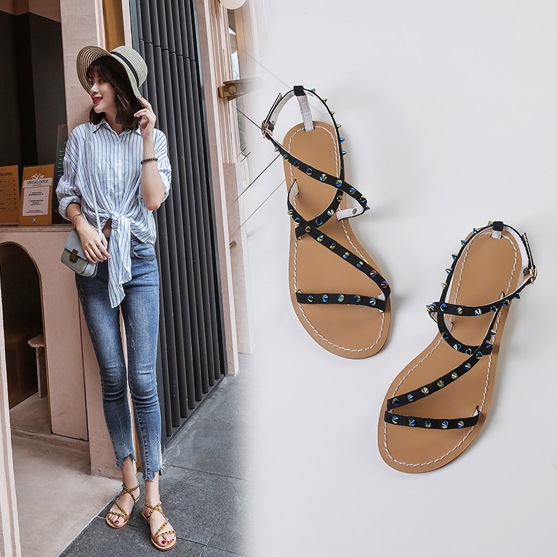 ANNABELLE STUDDED FLAT SANDALS