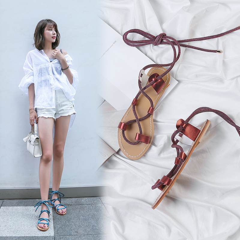 CHIKO ANNALIESE LACE UP FLAT SANDALS