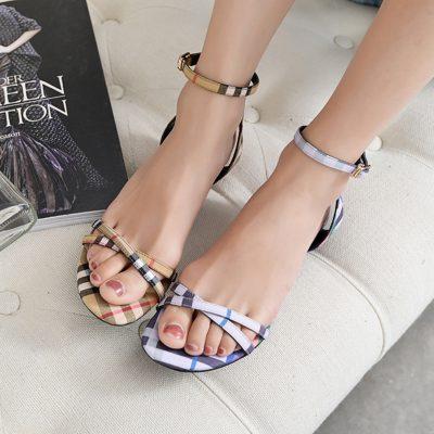 Chiko Arlo Plaid Cone Heel Sandals