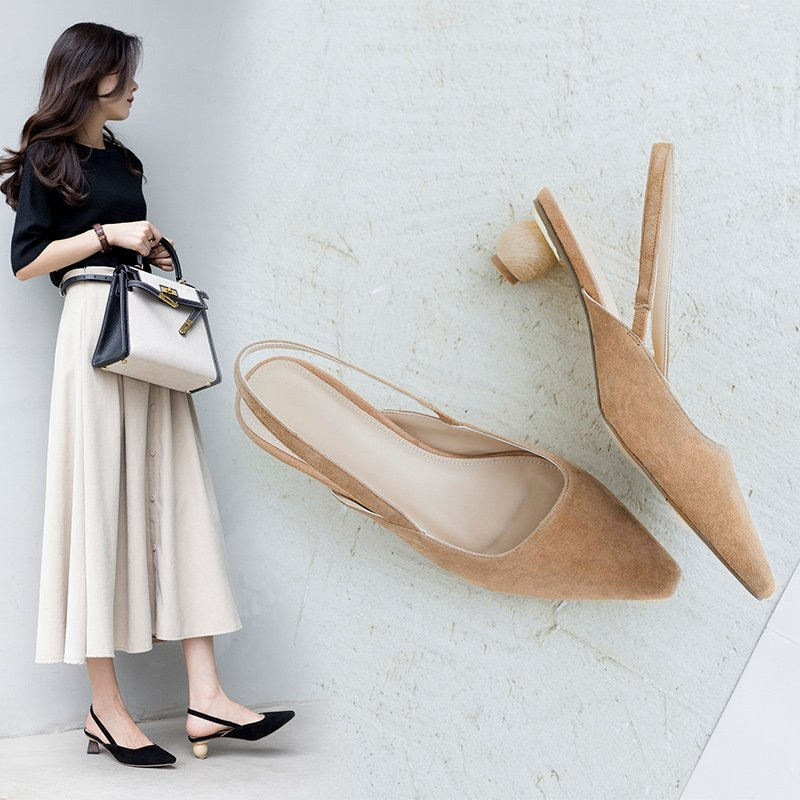 ASHELY MISMATCHED HEEL SLINGBACK PUMPS