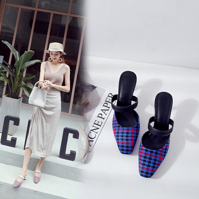 ASHLEN PLAID KITTEN HEEL MULES