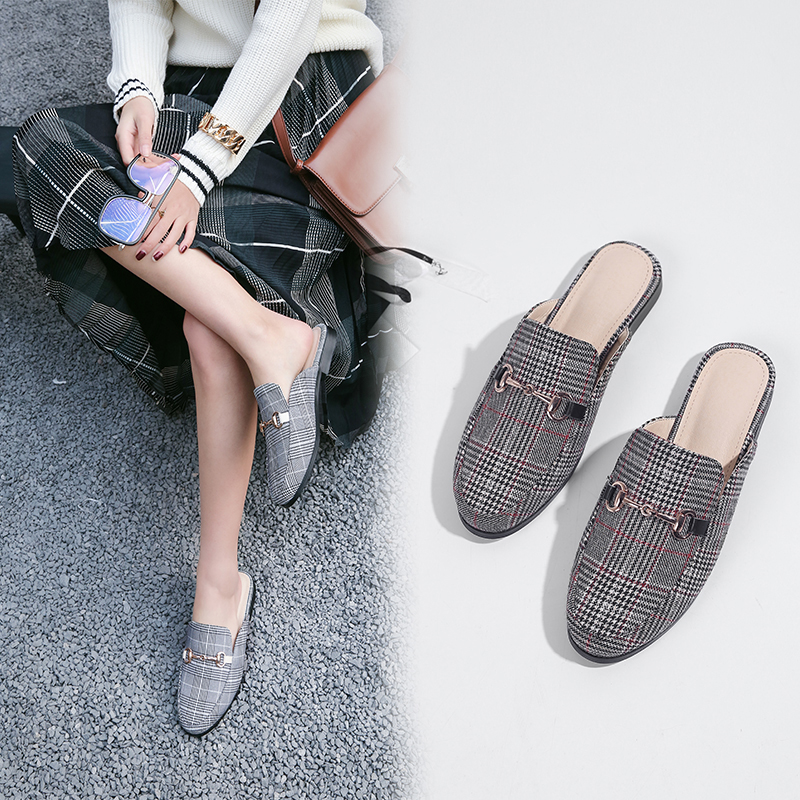 ASPYN PLAID MULE FLATS
