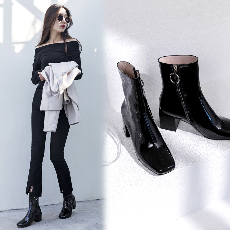 CHIKO BAILEIGH PATENT ANKLE BOOTS