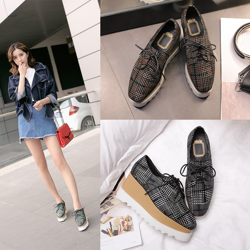 BARLOW PLAID FLATFORM OXFORDS