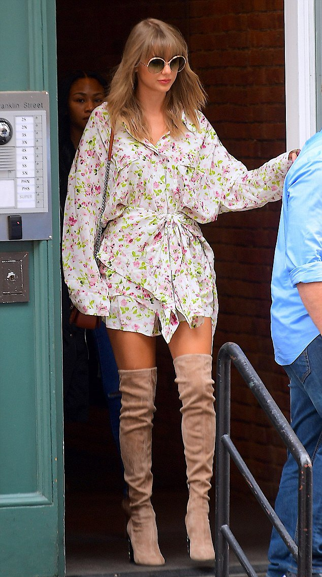 Taylor Swift summer thigh high boots style