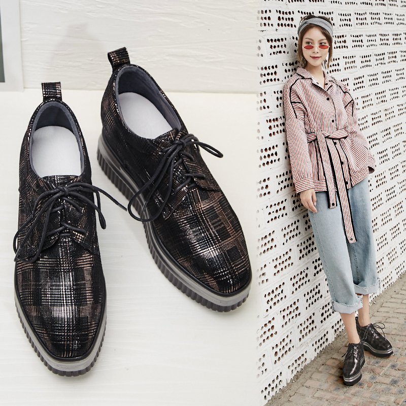 BLADE PLAID METALLIC FLATFORM OXFORDS