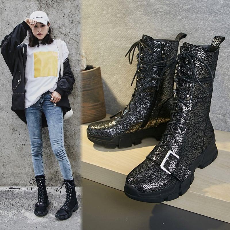 Chiko Borden Metallic Sneaker Combat Boots