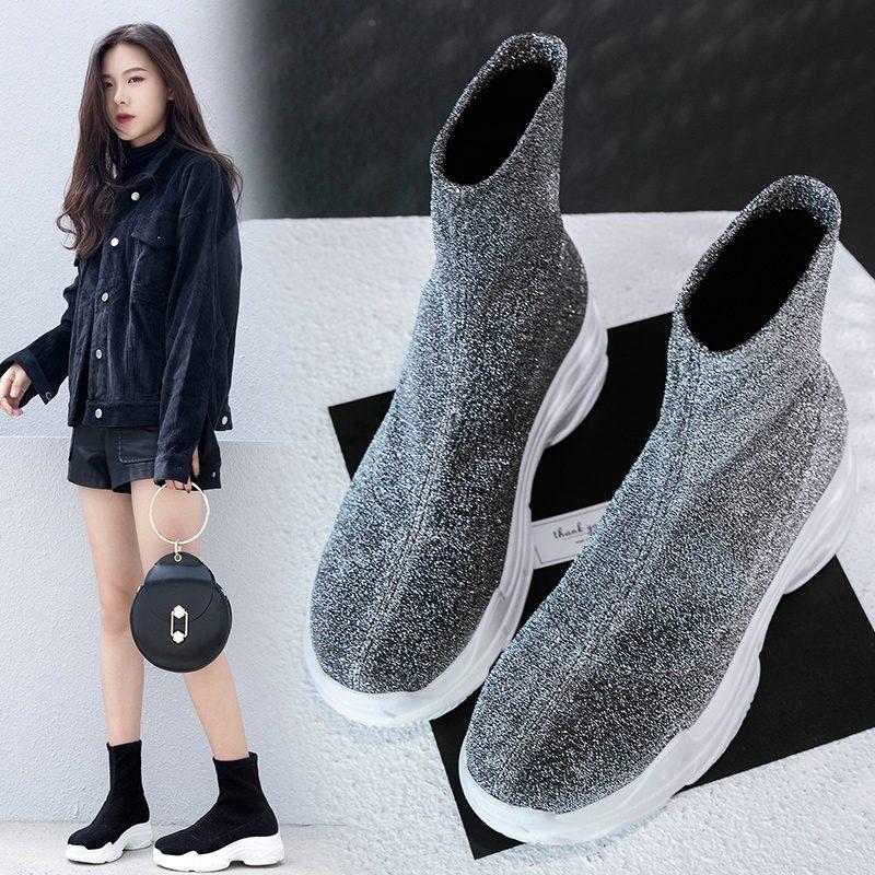 Chiko Brita Metallic Sneaker Sock Ankle Boots