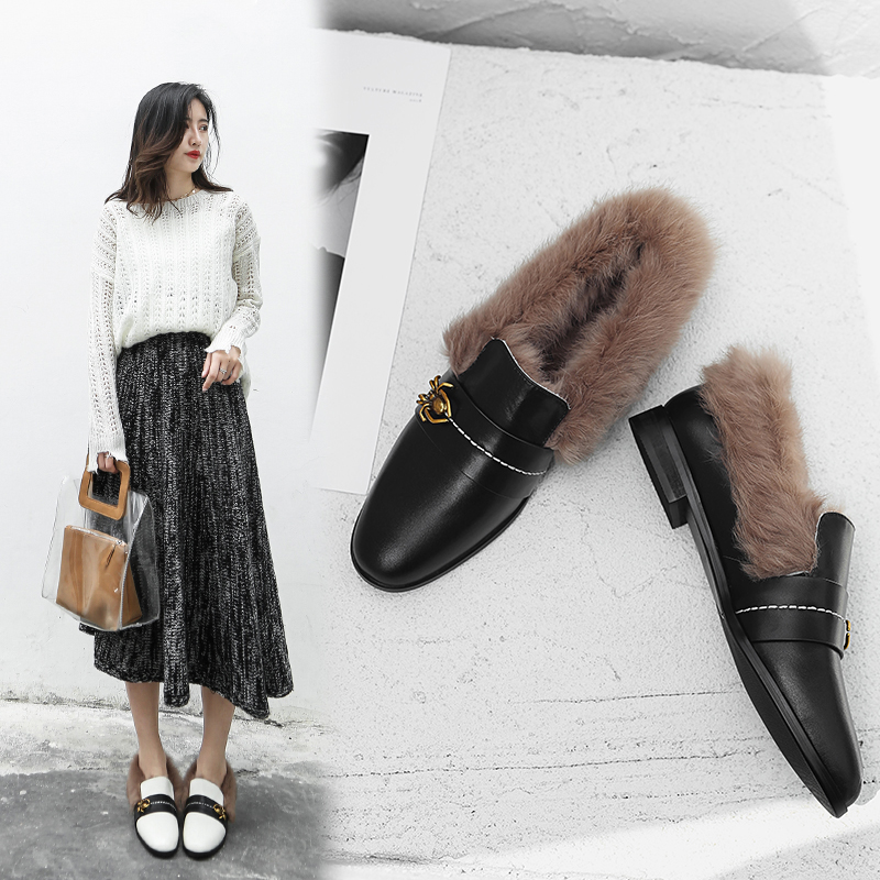 Britny Fur Lined Loafer Flats