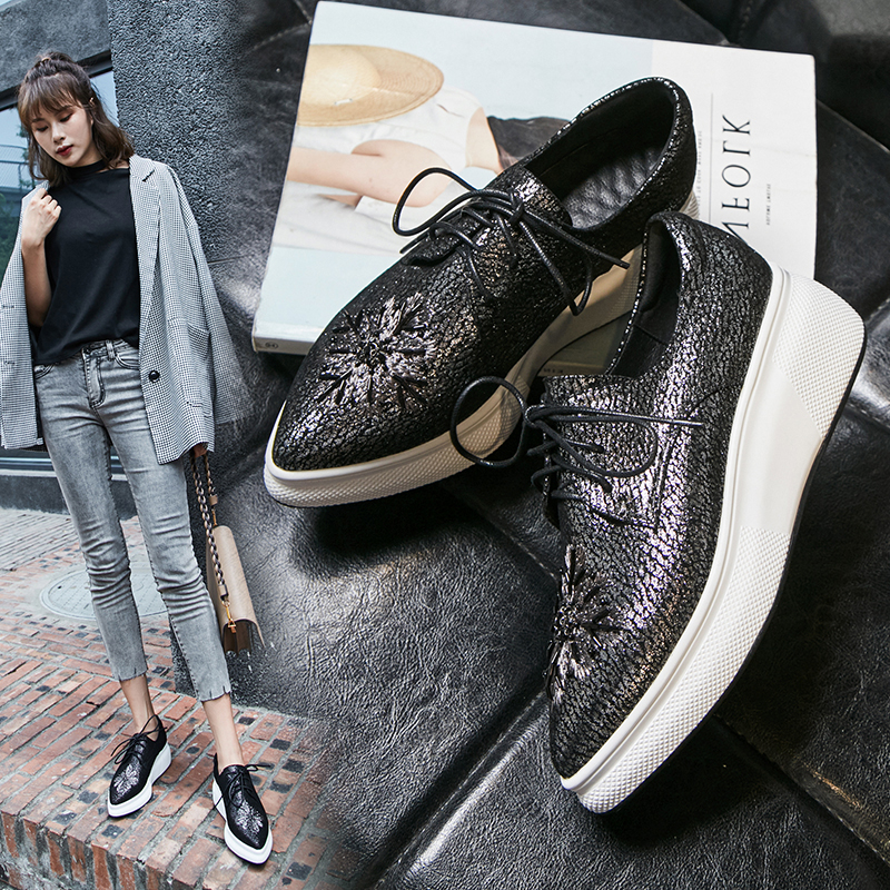 Chiko Brock Metallic Oxfords Flatform Sneakers