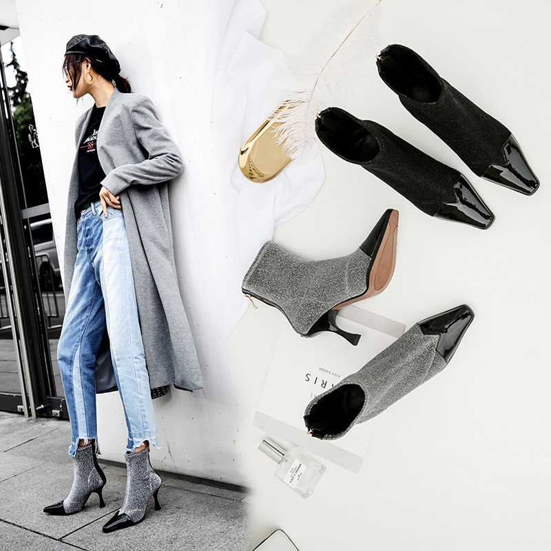 Bryon Kitten Heels Sock Ankle Boots at Chiko Shoes $117