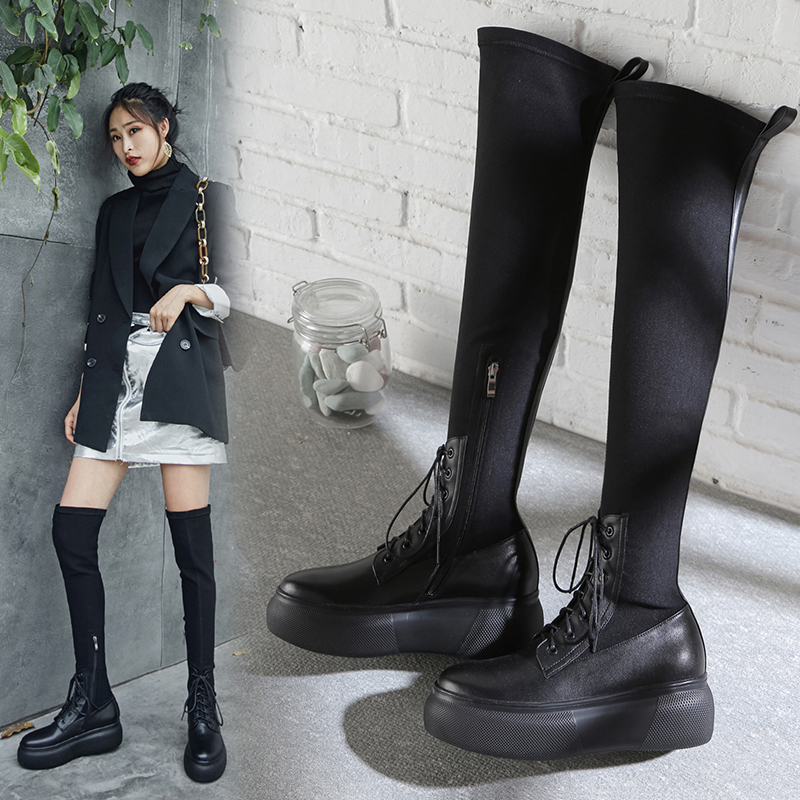CLEVE FLATFORM THIGH HIGH SOCK BOOTS