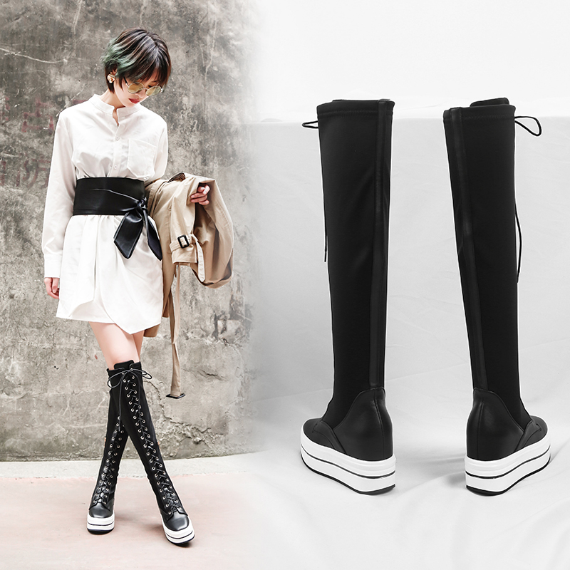 CLEVELAND FLATFORM KNEE HIGH SOCK BOOTS