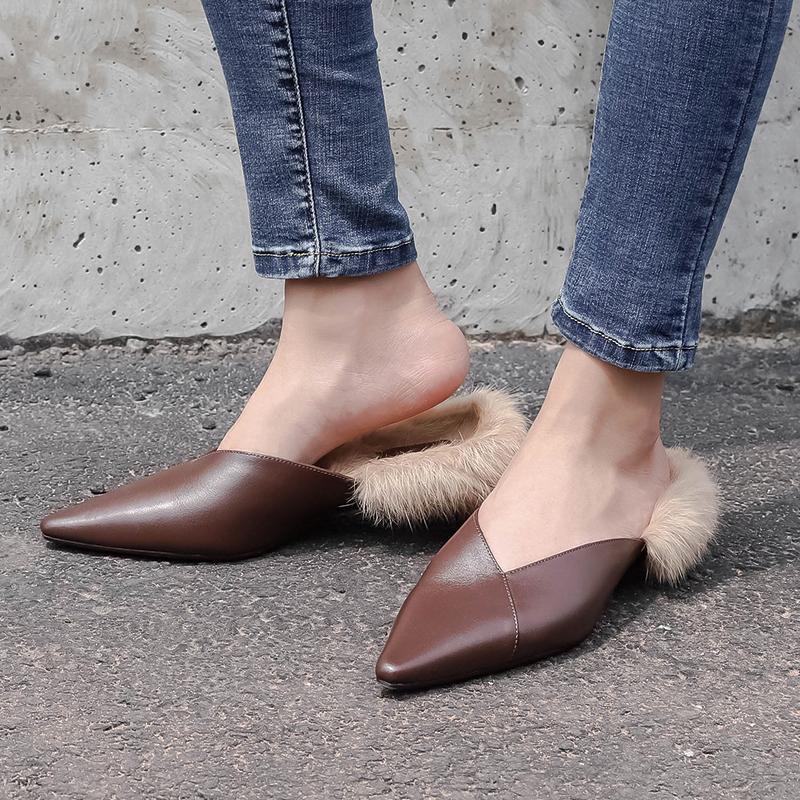 Coady Fur Lined Kitten Heel Mules