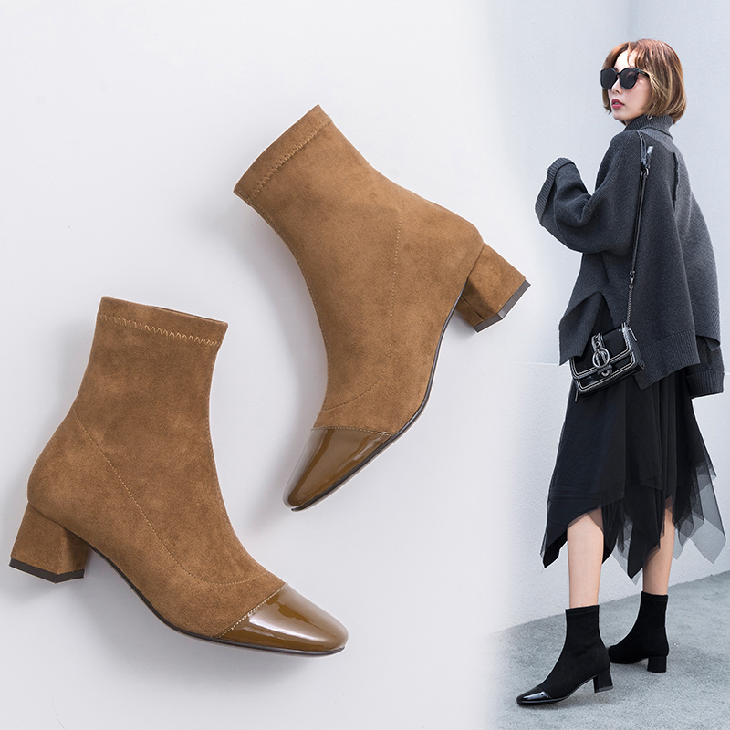 CEDRIC CAP TOE SOCK ANKLE BOOTS