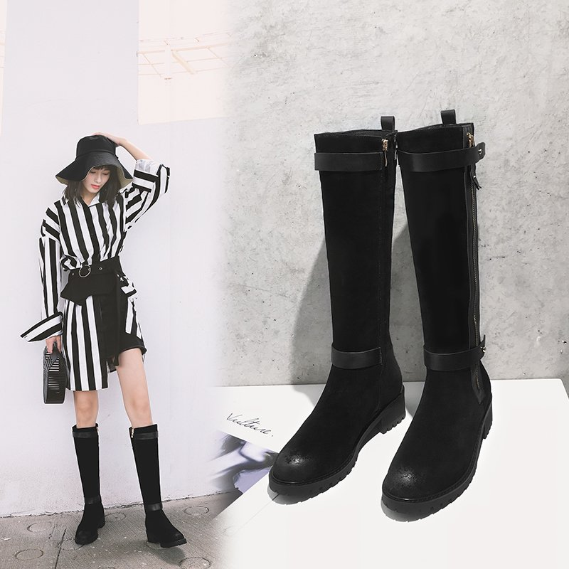 CEDRICK ZIPPER KNEE HIGH BOOTS