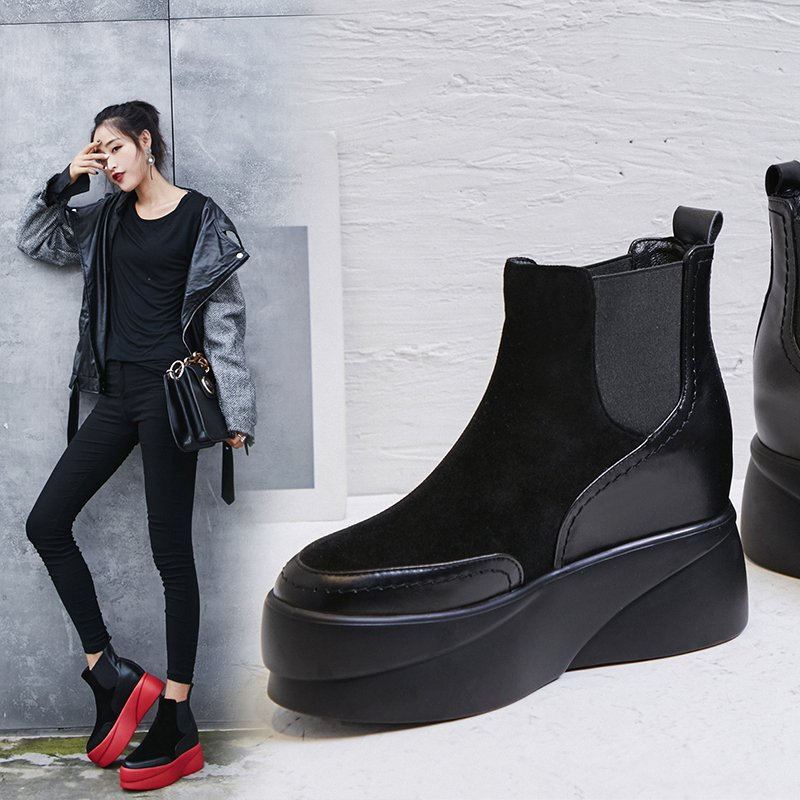 CHENNEL FLATFORM CHELSEA ANKLE BOOTS
