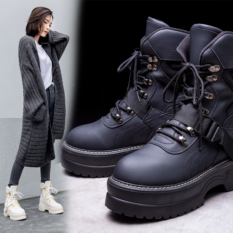 CHARLA PLATFORM HIKING COMBAT ANKLE BOOTS