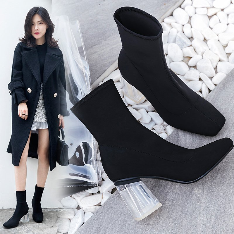 CHIKO CHARLAINE LUCITE SOCK BOOTS