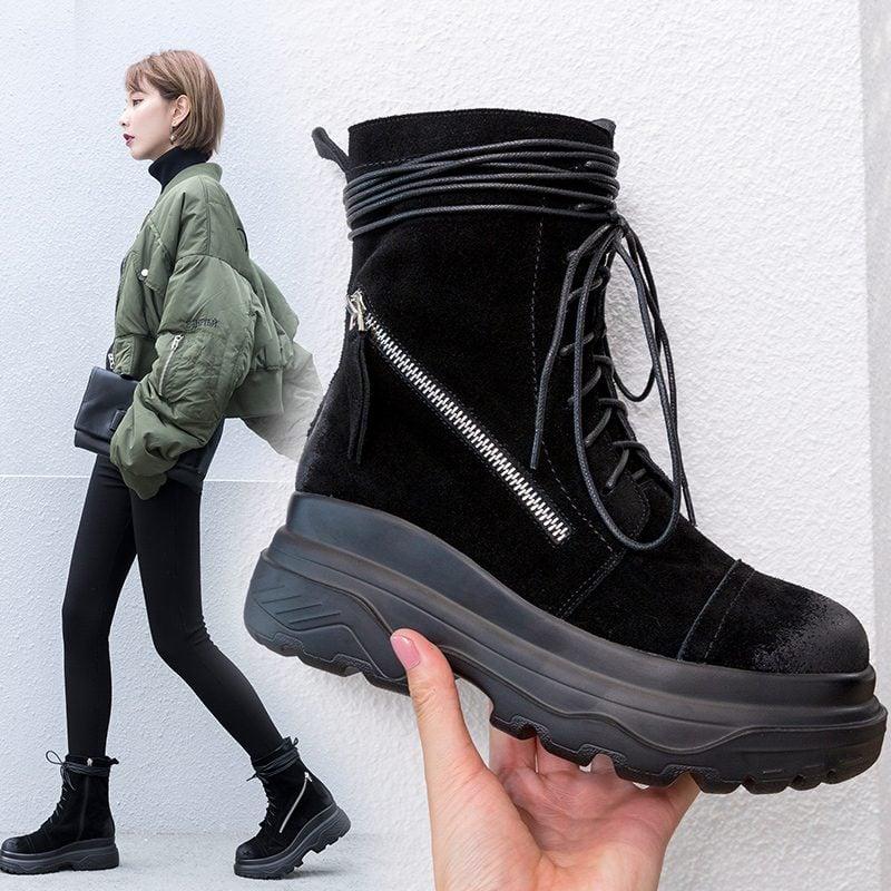 Chiko Charlie Platform Hiking Combat Ankle Boots
