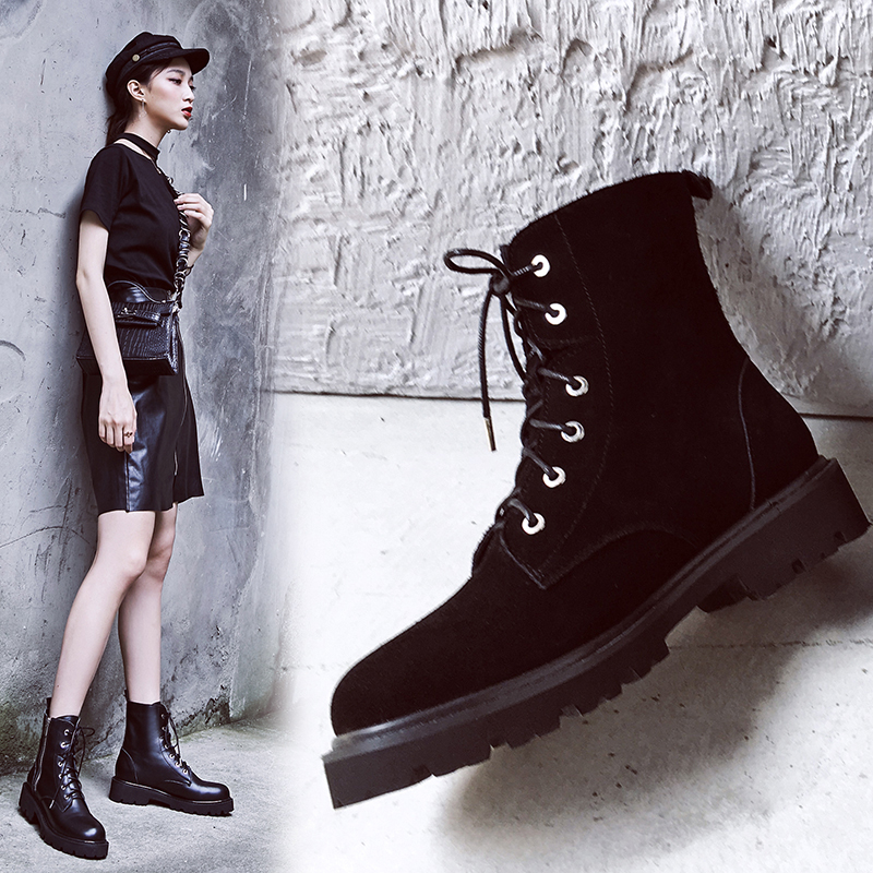 CHELLEY SIDE ZIP COMBAT ANKLE BOOTS