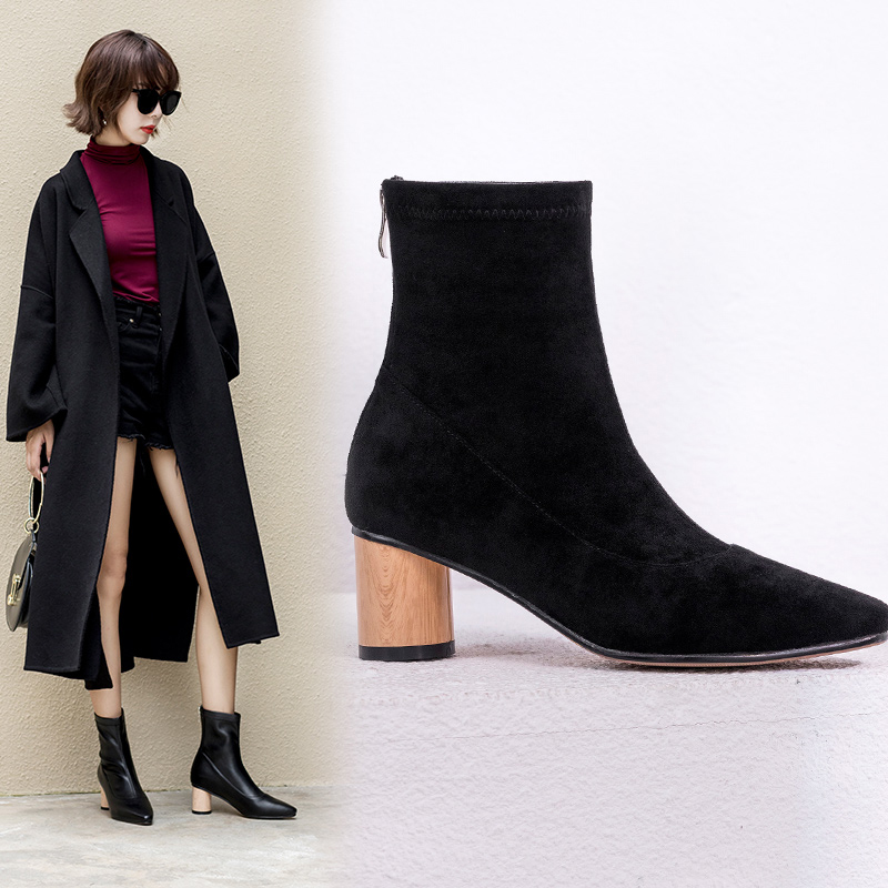 CHELSIE SCULPTURAL HEEL ANKLE BOOTS