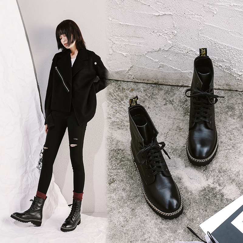 CHELSY CHAIN COMBAT ANKLE BOOTS