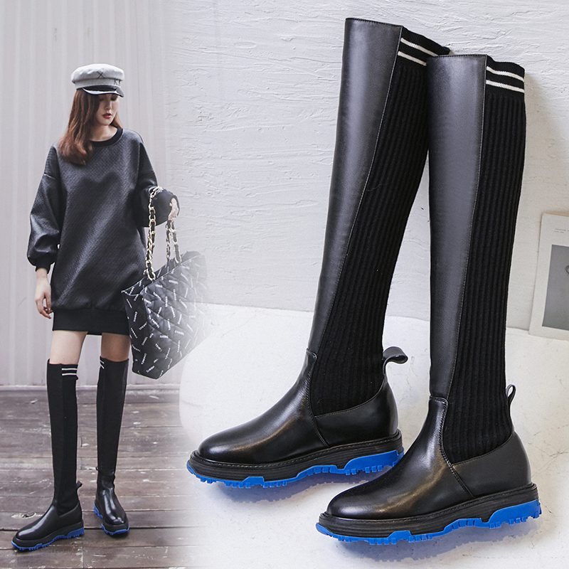 Chiko Chipper Color Sole Thigh High Sock Boots