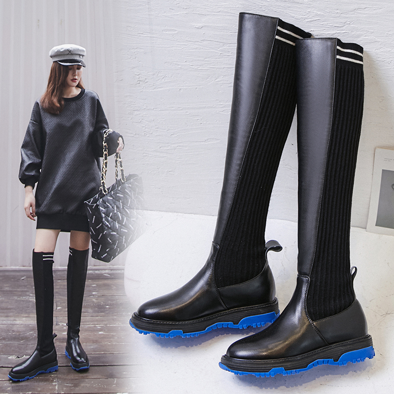 CHIPPER COLOR SOLE THIGH HIGH SOCK BOOTS