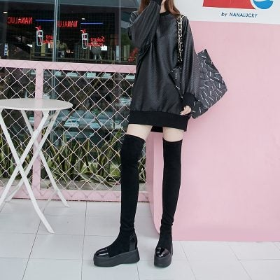 Chiko Christy Flatform Thigh High Sock Boots