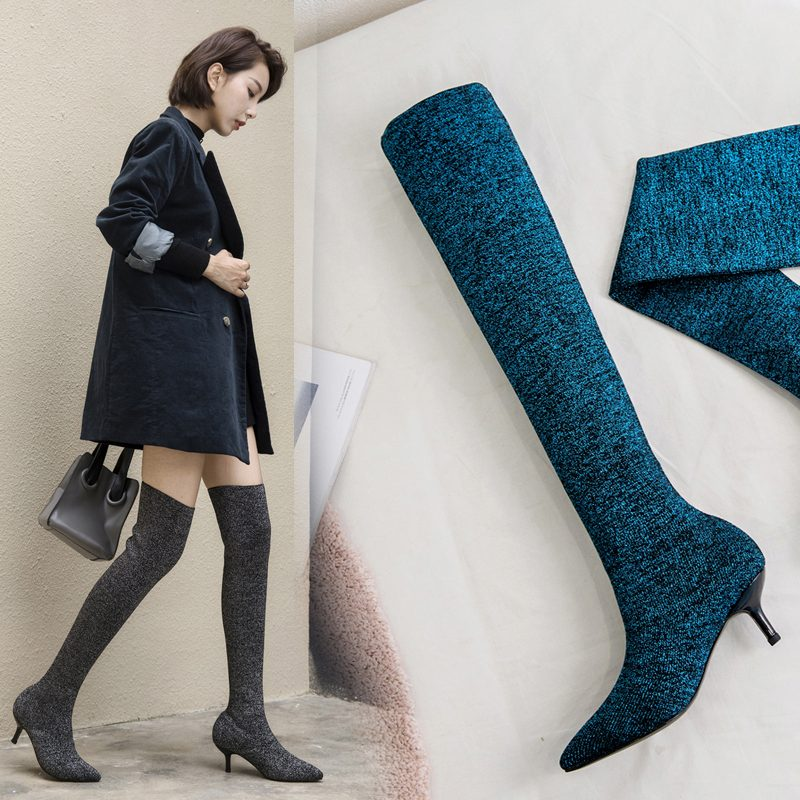 Chiko Clayborne Kitten Heel Thigh High Sock Boots