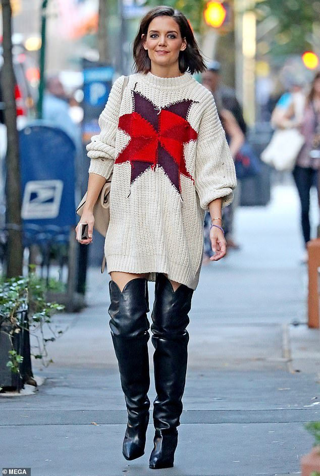 Katie Holmes Thigh High Western Boots Style | Photo Source: MEGA