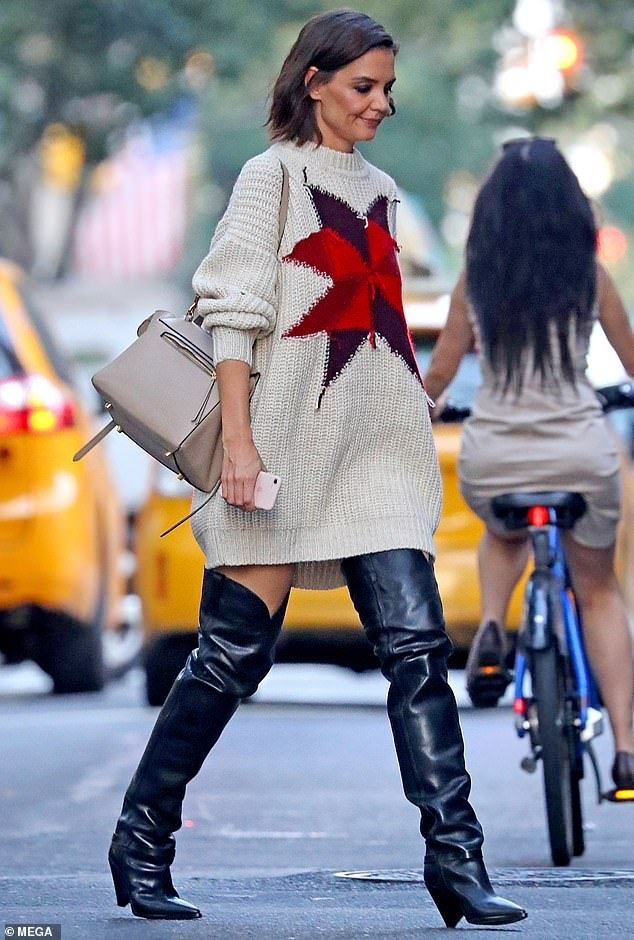 Katie Holmes Thigh High Cowboy Boots Style