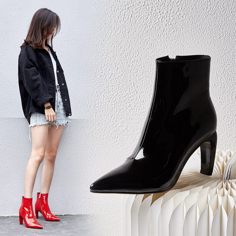 COLEY CURVE HEEL ANKLE BOOTS