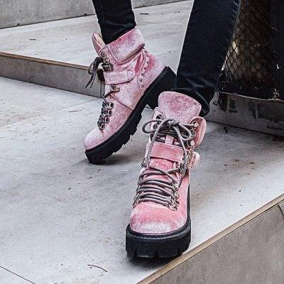 Chiko Coleman Velvet Combat Ankle Boots