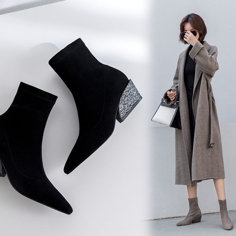 Chiko Cooper Glitter Heel Sock Ankle Boots