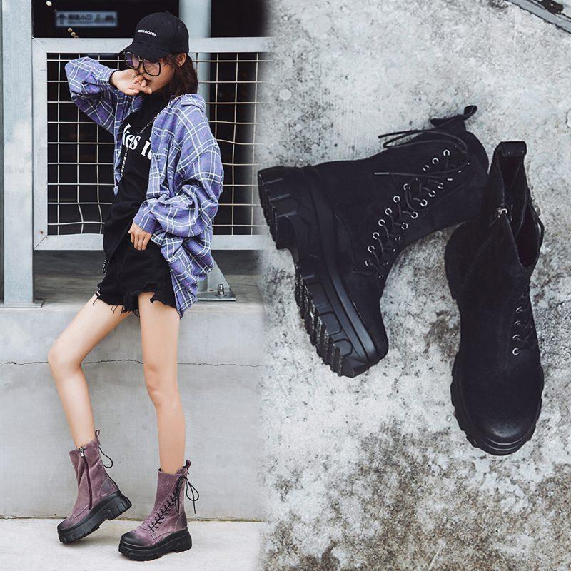 Chiko Courtline Flatform Combat Ankle Boots